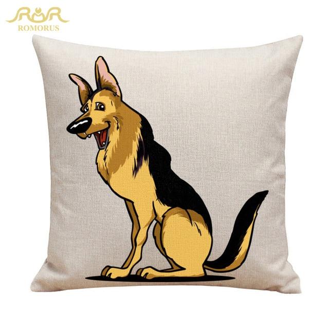 Romorus Cool German Shepherd Dog Cushion Cover Golden Retriever Dogs Throw Pillow Case Linen Sofa Home