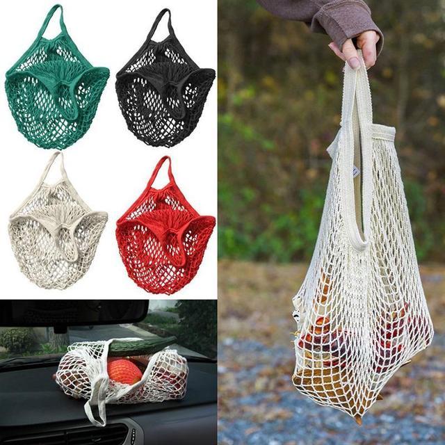 LUOEM 1 pc Reutilizável Corda Rede de Malha de Tecido de Algodão Saco de Compras de Supermercado Sacola de Compras Saco de Mão Totes