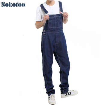 Sokotoo Men\'s casual loose pocket overalls Comfortable denim jumpsuits Plus big size Jeans for man Blue pants - DISCOUNT ITEM  15 OFF Men\'s Clothing