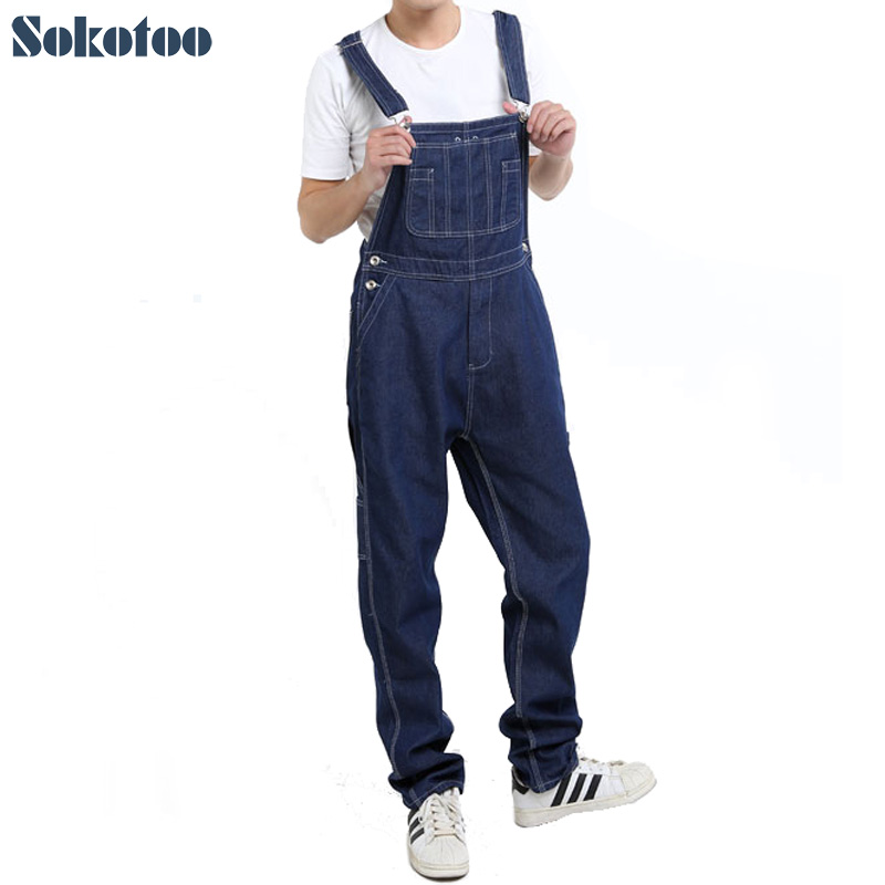 Sokotoo Men's casual loose pocket overalls Comfortable denim jumpsuits Plus big size   Jeans   for man Blue pants