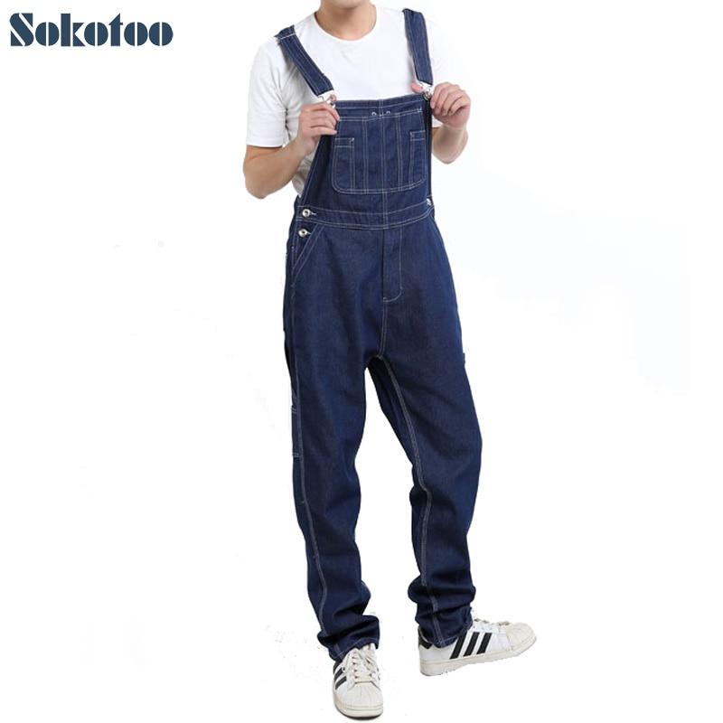 Sokotoo Men's casual loose pocket overalls Comfortable denim jumpsuits Plus big size <font><b>Jeans</b></font> for man Blue pants
