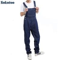 Sokotoo Men's casual loose pocket overalls Comfortable denim jumpsuits Plus big size Jeans for man Blue pants