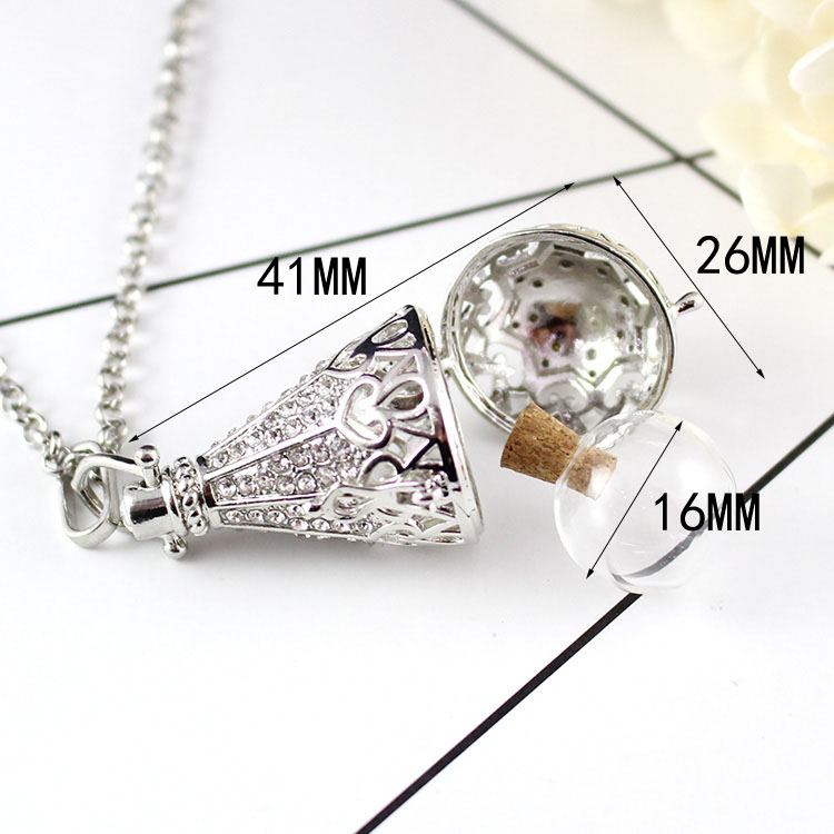 Fillable Jewelry Cremation necklace Memorial Jewellery Urn Locket Sterling Silver Butterfly Cage Locket with Fillable Glass Orb
