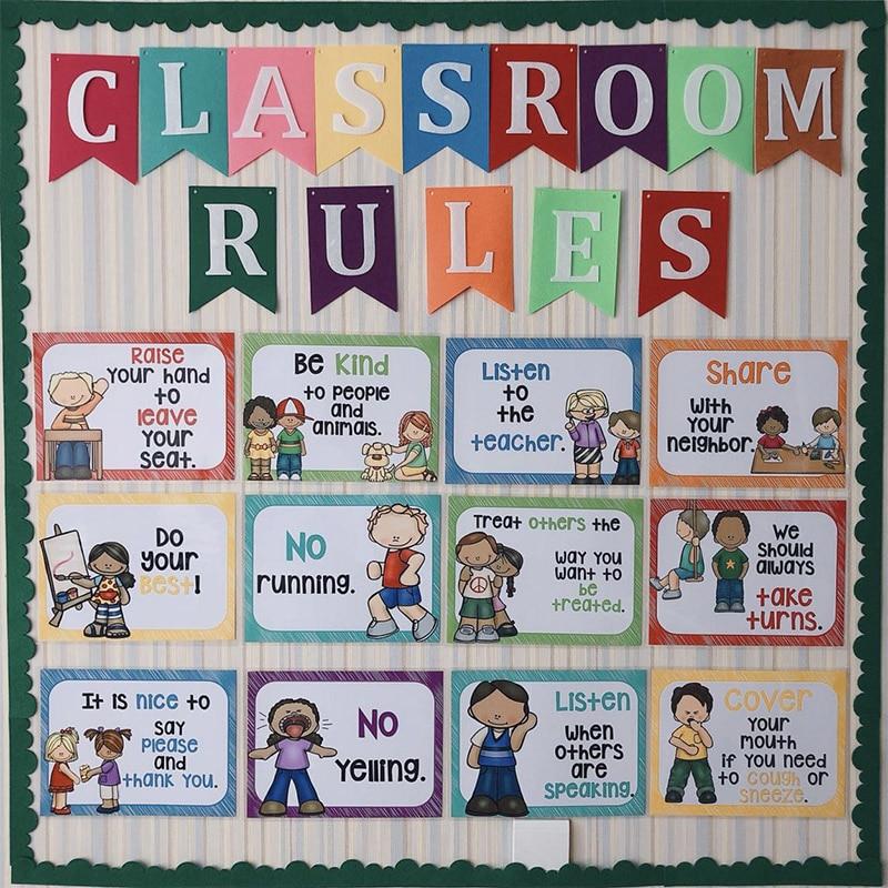 Classroom Wall Decoration Set ~ Pcs set classroom rules kindergarten wall decoration