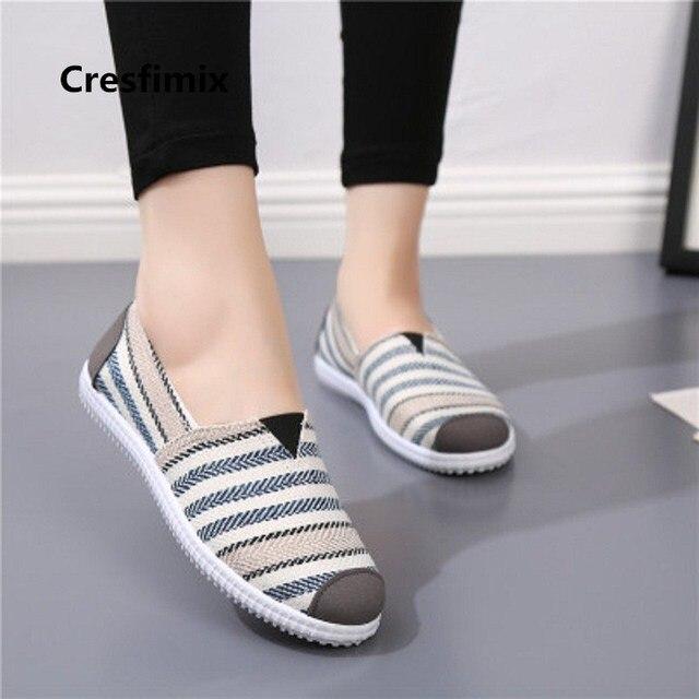 Alta Cómodos E638 Bonitos Rayas Para De Calidad Planos Platos Zapatos Dulces Chaussures Moda Lona Mujer y0NP8mnOvw