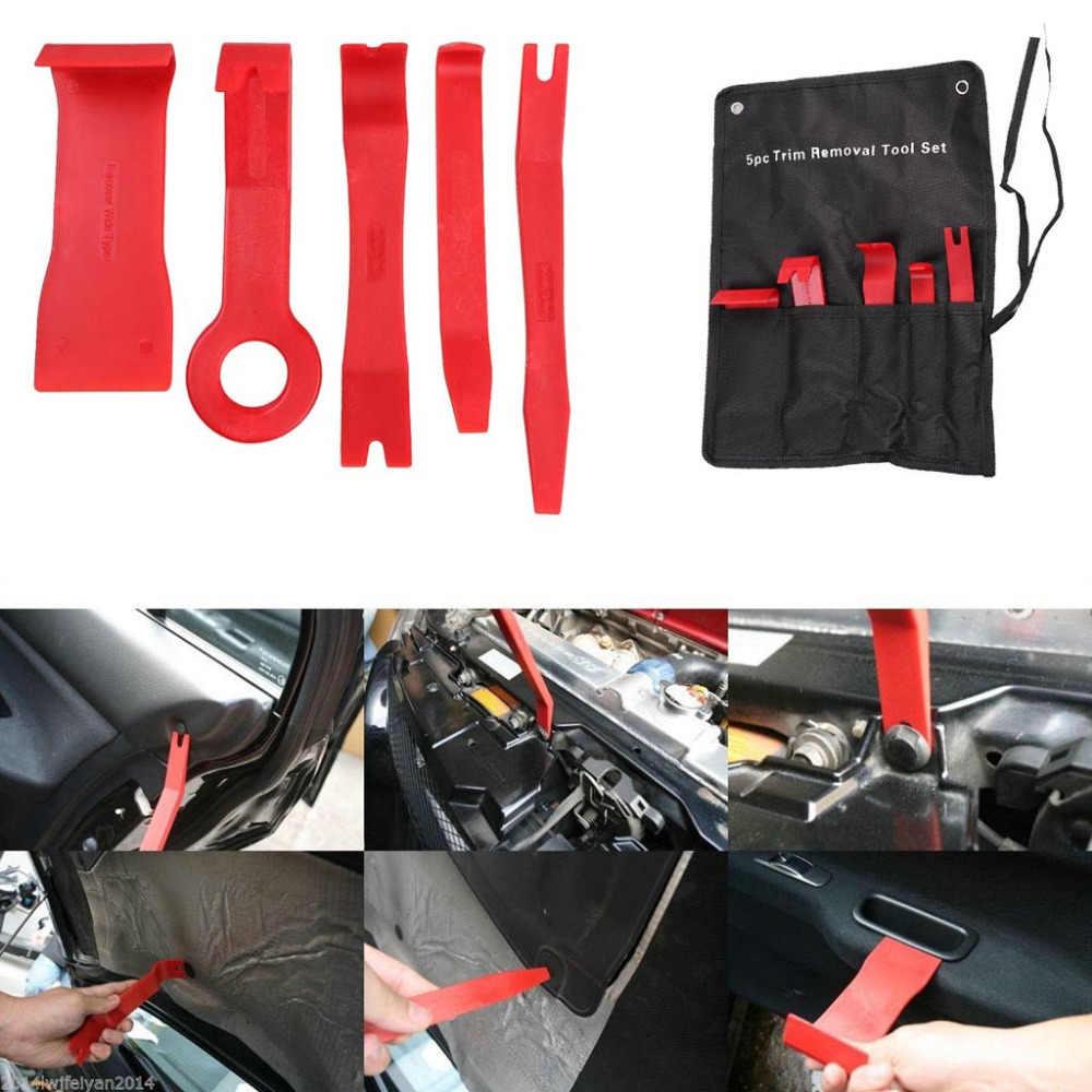 プロ 5 個赤オートカーラジオのドアクリップパネルトリムダッシュオーディオ駆除インストーラてこツール新セット車パネル除去ツール