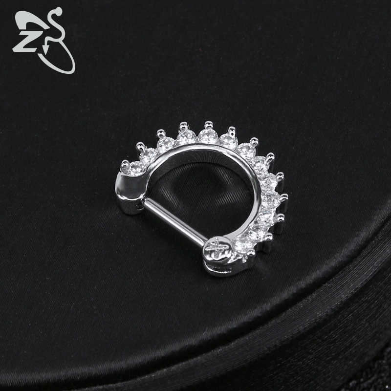 ZS 16G เหล็กผ่าตัดอินเดียจมูก Septum แหวนคริสตัล EAR Helix Clicker เจาะต่างหู Septums Hoop Piercing เครื่องประดับ