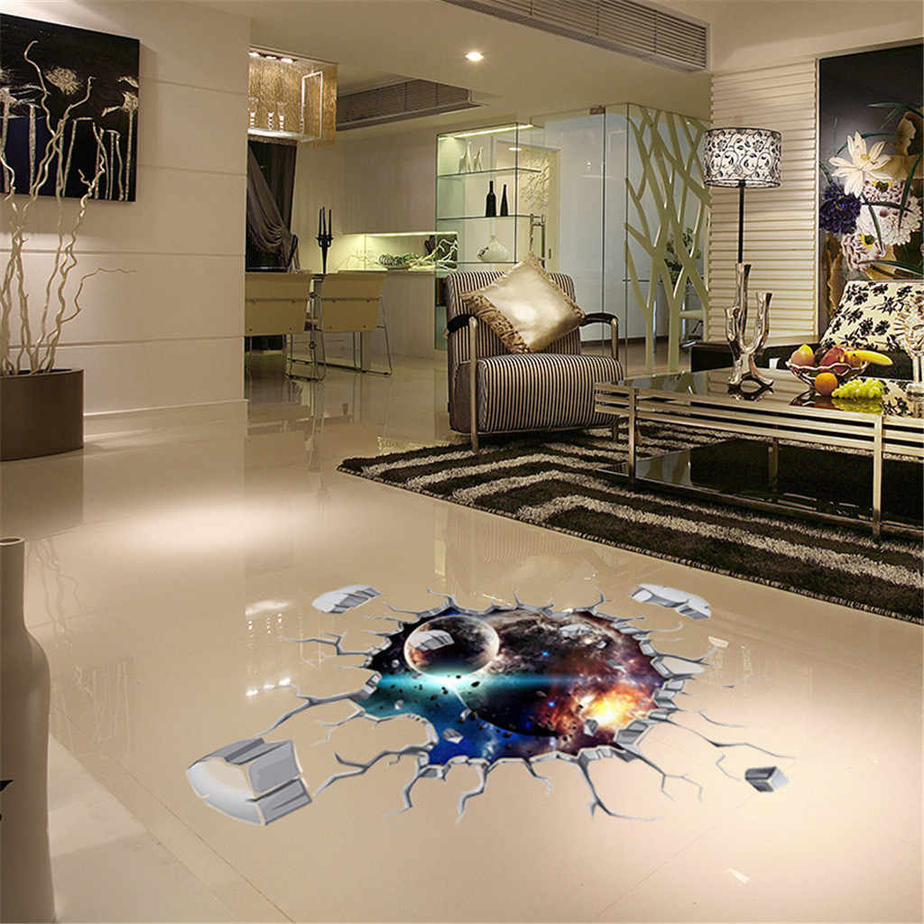 3D Galaxy Planets Wall Stickers Waterproof PVC Wallpaper Removable Living Room Decal Home Art Three-dimensional Ceiling Decor
