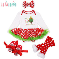 4 개 아기 소녀 먼저 크리스마스 트리/스타킹 의상 의상 투투 드레스 + 머리띠 + 다리 따뜻한 스커트 + 신발 겨울 SZ 0-18 개월