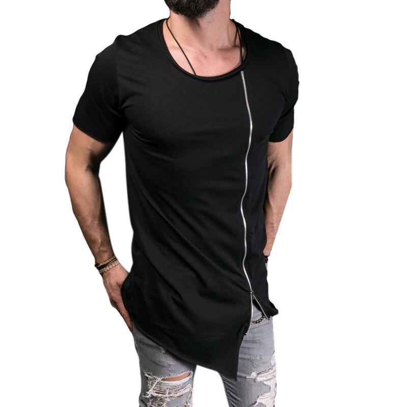 2017 Summer New Men's Fashion Show Stylish Short T shirt Men Asymmetrical Side Zipper Big Neck Top Tee Short Sleeve T-Shirt F2