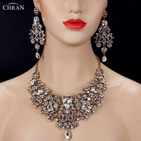CHRAN Noble Crystal Indian Bridal Jewelry Sets for Women Vivid Antique Gold Color Necklace Sets Silver Color Wedding Jewelry