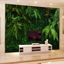 Tropical Rainforest Leaves Green TV Background Professional Production Mural Custom Photo Wallpaper