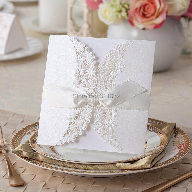 Чистый белый кружевной край дизайн приглашение, свадебные приглашения, с пустой внутренней карты, индивидуальные, Бесплатная печати