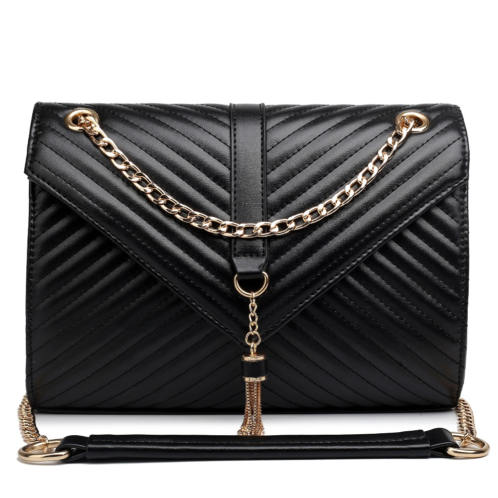 New fashion women handbags messenger bags satchels leather look quilted chain shoulder bags with magnetic buckle closure
