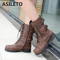 ASILETO ankle boots women Boots Autumn winter Motorcycle boots buckle women shoes lace up army hiking boots combat booties A1043