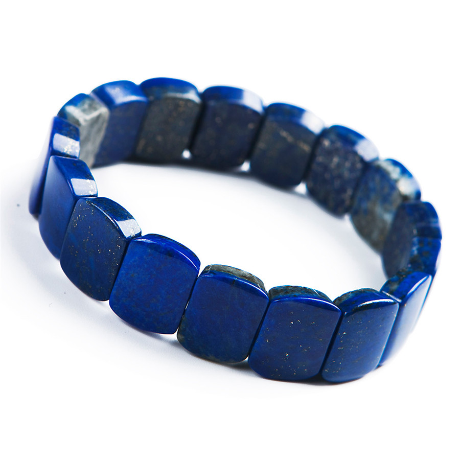 Deep Blue Natural Lapis Lazuli Gemstone Crstal Rectangle Bead Stretch Bangle BraceletsDeep Blue Natural Lapis Lazuli Gemstone Crstal Rectangle Bead Stretch Bangle Bracelets