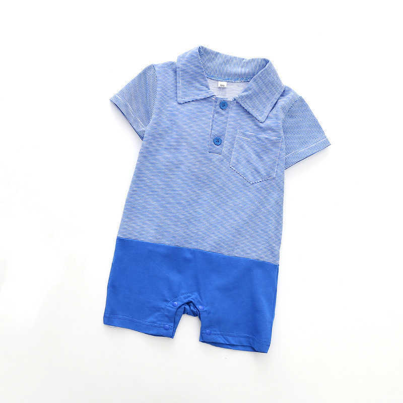 10e20dd74 Hot Baby Boy Shirt Jumpsuits Classical Stripe Color Matching Baby Rompers  Short Sleeved Kids Overalls Blue