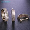 Mechosen espumosos zirconia pendientes anillos set para las mujeres brincos boucles d'oreilles de cobre de joyas boda anel anéis