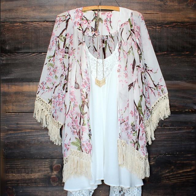Женские пляжные в стиле бохо летние цветочные кимоно с кистями кардиган рубашка Купальники blusas Feminina Haut Femme Дамская шифоновая белая блузка