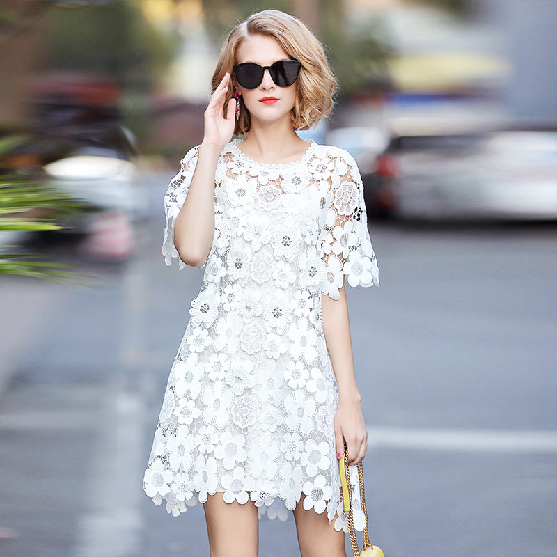 Europe Brand Designers Runway Dress Women 2018 Summer Elegant Short Sleeve Beading Hollow Out Embroidered Crochet Lace Dress pearl beading eyelet embroidered cuff tiered dress