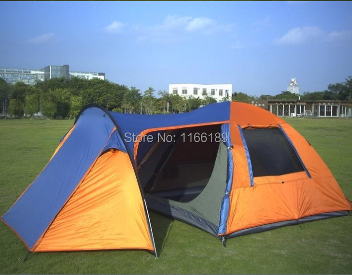 Ultra large 5 people 2 room family bivvy tent with front and back canopy big C&ing tents Double Layer large tente-in Tents from Sports u0026 Entertainment on ... & Ultra large 5 people 2 room family bivvy tent with front and back ...