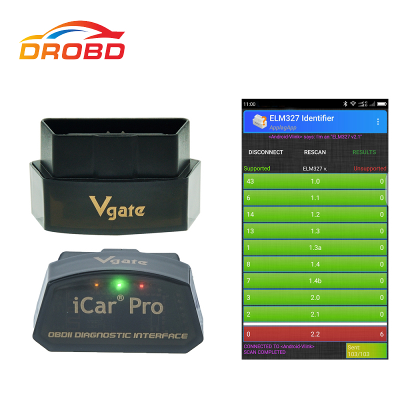 Original Vgate iCar pro ELM327 Real V2.1 OBD Code reader Bluetooth/WIFI Auto Sleep For Android And IOS Batter than ELM327 V1.5