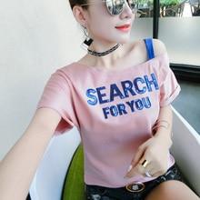 Cotton Off Shoulder T Shirt Women 2019 Summer Sexy Short Sleeve Sequined Tshirts Slash Neck White T-Shirt Pink Tee Femme
