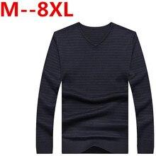 Ali 8XL 7XL 6XL 5XL Ali Casual Sweater Men Pullovers Brand winter Knitting long sleeve v-Korean Slim Neck slim Knitwear Sweaters