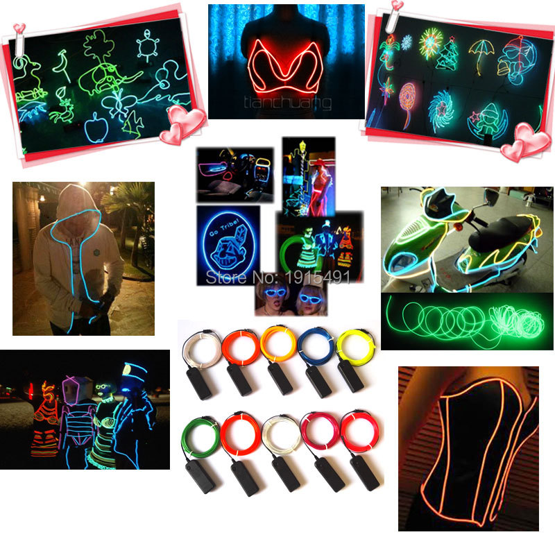 Newest Fashion 3.2mm 5Meter 10 Color Select Flexible EL wire LED Neon Thread+Powered by 3V Drives For Car Interior decoration