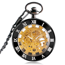 SHUAHANG Luxury Open Face Ruman Numbers Mechanical Pocket Watch Men Women Transparent Skeleton Hand Wind Fob Clock Gift