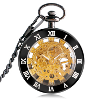 Gift Pocket Watch Roman Numerals Luxury Open Face Mechanical Pendant Women Fashion Hand Winding Men FOB