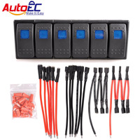 AutoEC 12V 16A ON/OFF Switches Panel Car Rocker Switch with Panel Wire Patrol Holder Housing ARB 5/6 Gang Car Truck Boat #LQ348