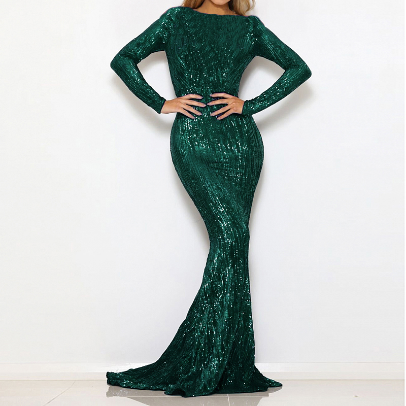 Green Sequined O Neck Maxi Dress Full Sleeved Bodycon Elegant Party Dress Gown Stretchy Night Long