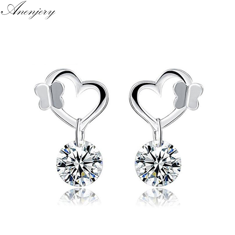 The Kiss Dazzling Crystal Stud 925 Sterling Silver Earrings