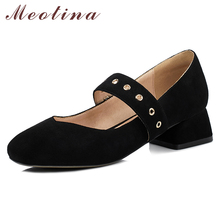 Купить с кэшбэком Meotina High Heels Mary Janes Shoes Women Chunky Heels Party Shoes Elegant Square Toe Pumps Ladies Footwear Spring Big Size 3 43