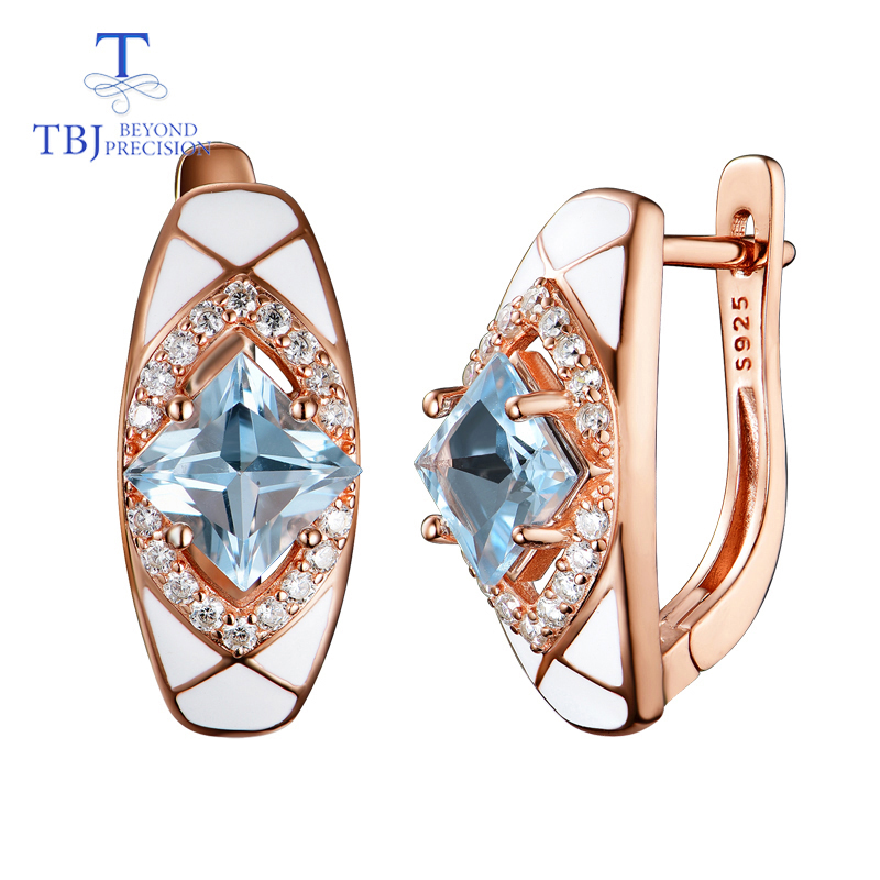 TBJ new design sky blue topaz earring natural square 6 0mm gemstone in 925 sterling silver