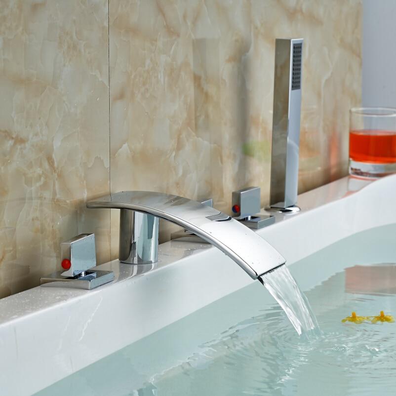 Chrome Finished 3 Square Brass Handles Waterfall Spout Bathtub Mixer Faucet Deck Mount Roman Tub Filler