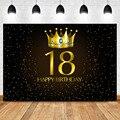 Вечерние Фотофон NeoBack 18 дней рождения для взрослых с золотой короной и голубым камнем золотыми маленькими точками черный Фотофон
