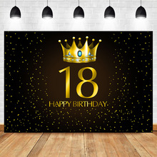Get more info on the NeoBack 18th Birthday Adult Party Photo Background Gold Crown Blue Gem Gold Little Dots Black Photo Background Photophone
