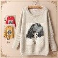 2017 новый мори девушка Весна женская девочка аппликация печати о-образным вырезом свитер q7