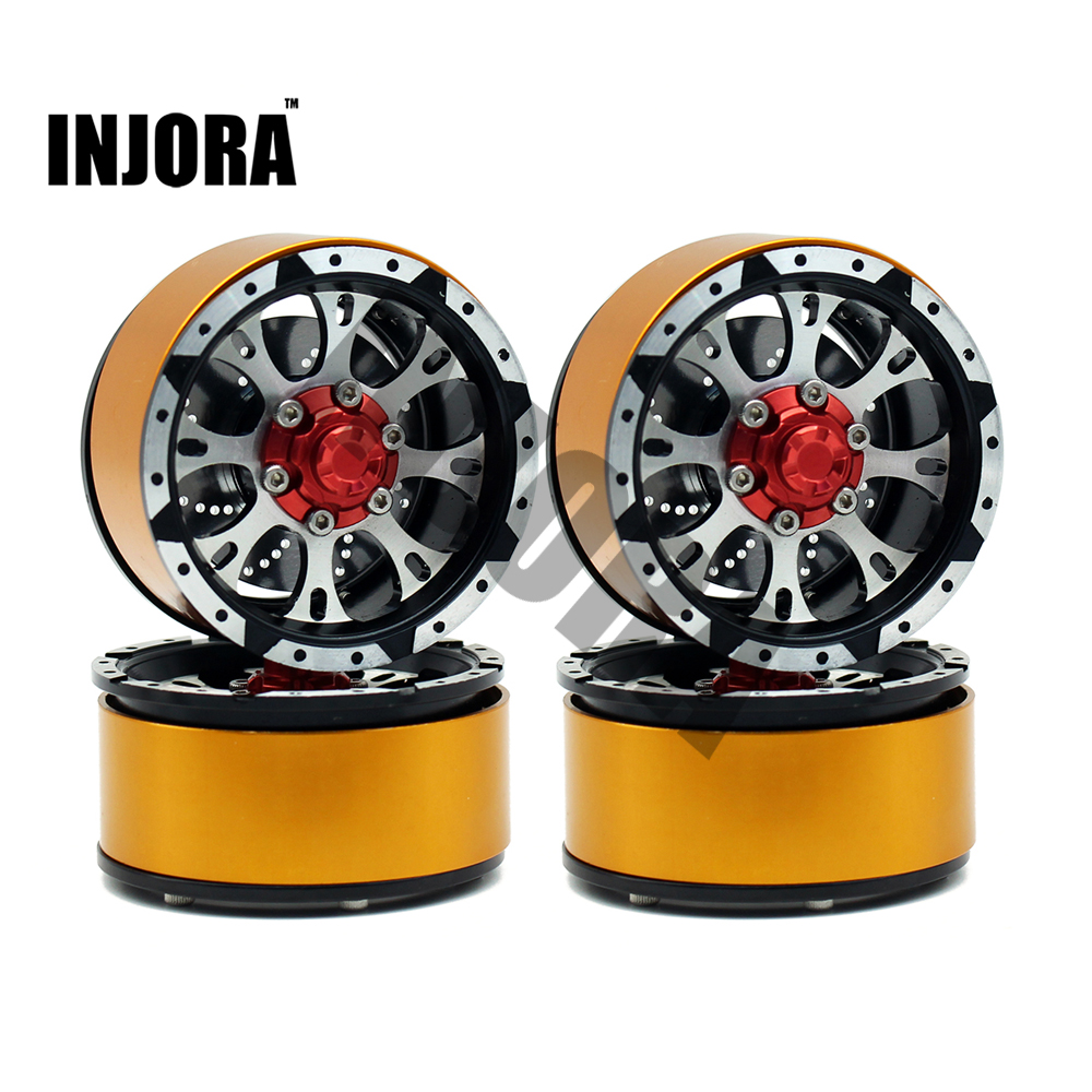 INJORA 4Pcs Metal Alloy 1 9 Inch Beadlock Wheel Rim for RC Rock Crawler Axial SCX10