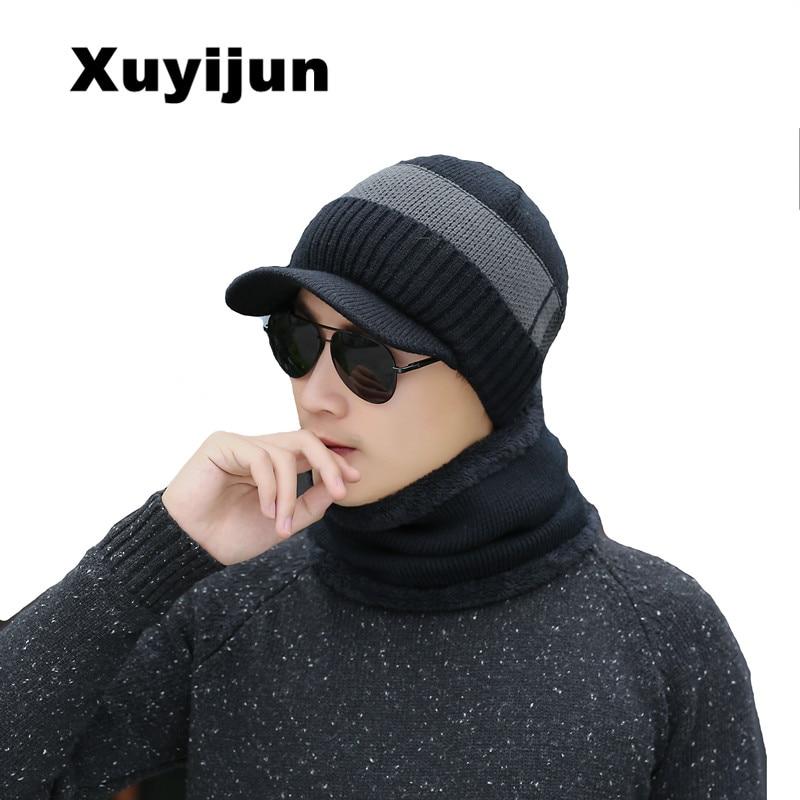 XUYIJUN 2018 Winter Hat   Skullies     Beanies   Men Women Scarf Knitted Hat Winter Caps Balaclava Mask Cap Wool Cap   Beanies   Fur Hats