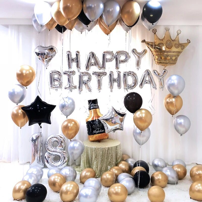26pcs/lot 30inch Happy 18 <font><b>Birthday</b></font> Silver Foil Number Balloons Metallic Balloon <font><b>18th</b></font> Anniversary <font><b>Birthday</b></font> Party <font><b>Decor</b></font> Globos image
