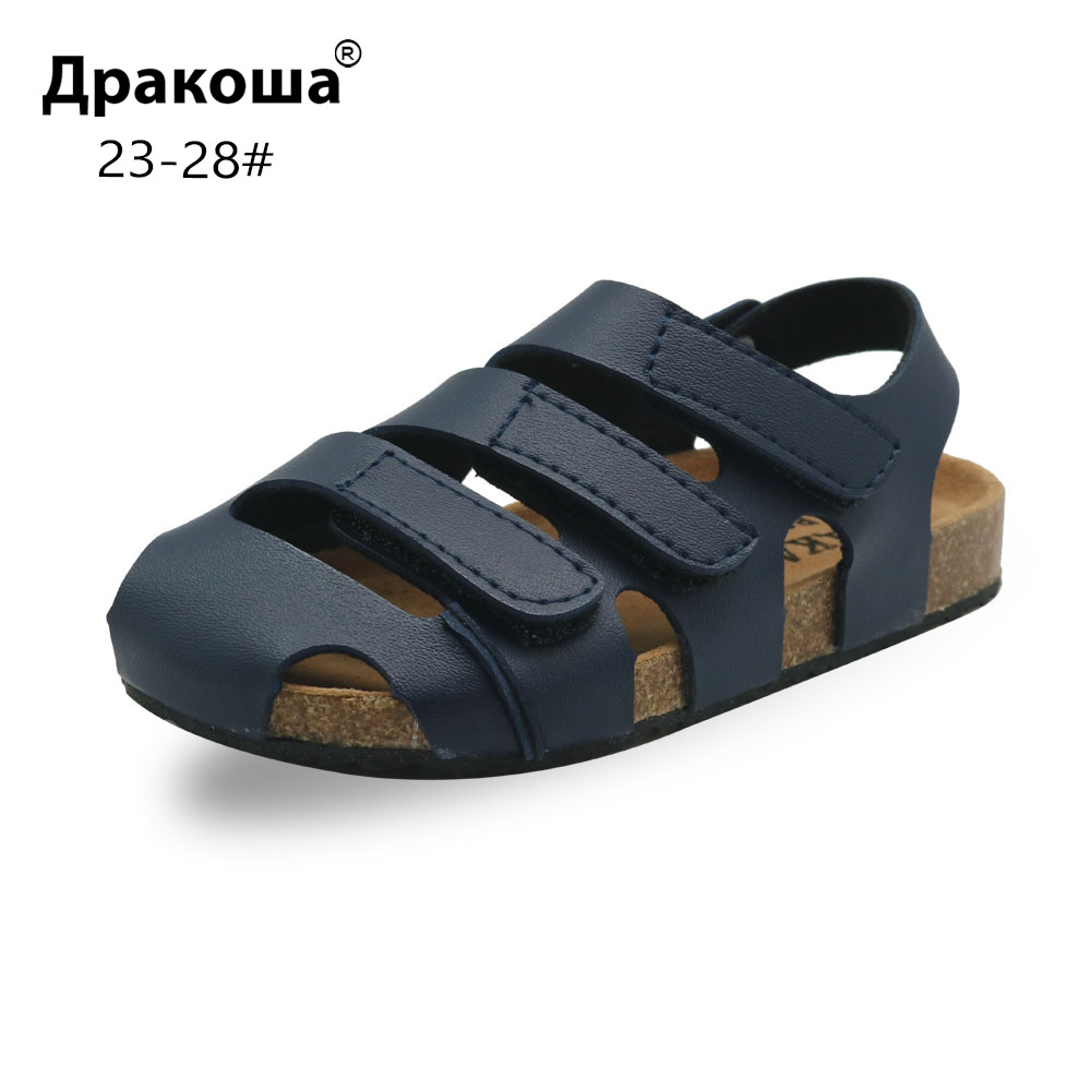 Apakowa Summer Boys Cork Sandals Children's Fashion Closed-toe Flat Heels Beach Shoes Gladiator Casual Sandals For Toddler New