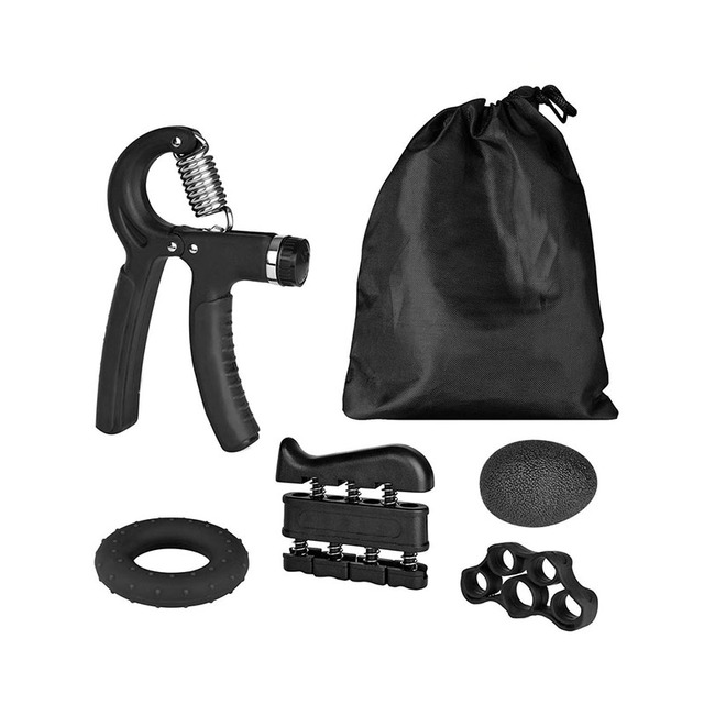 5 Pack Hand Grip Strengthener Workout Kit Forearm Grip Ball Ring Adjustable Resistance Hand Gripper Finger Exerciser Stretcher