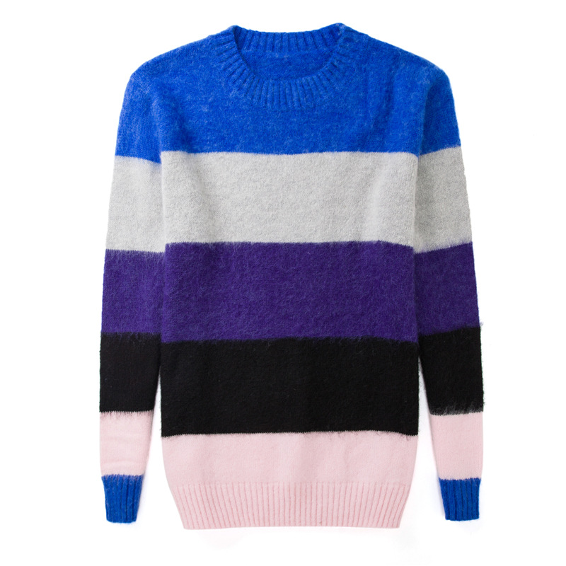 2017 Womens Fashion Wool Sweater Long Fashion Autumn Winter Mohair Rainbow Stripes Casual Pullovers Maternity Clothes Girls Sale