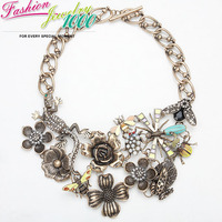 Vintage Brand Animal Rose Flower Pearl Bronze Pendant Bib Necklace Fashion Statement Alloy Choker Charm Jewelry