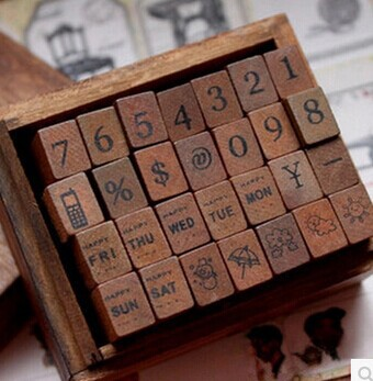 NEW Retro wood box stamp, Number, weather &week design wood Stamp 4sets/lot