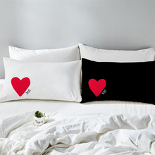 Boys Girls Couples Pillowcase Sweet Red Heart Print Pillow Case Patchwork Lovers Pillow Cover Valentine's Day Home Textile D40 ingrace sweet heart tooth fairy pillow for boy and girls baby pillow a rating pp cotton inside 21cm 15cm free ship heart printed