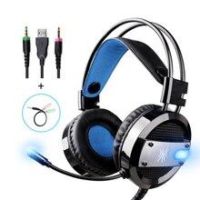 Oneodio Проводная гарнитура глубокий бас для компьютера Xbox PS4 Игровые наушники с микрофоном светодиодные для ПК Xiaomi телефон